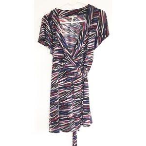 BCBGeneration colorful striped wrap dress